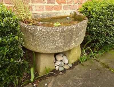 Stone Garden Trough On Stone Pillars - Semicircular in Shape. Nicely Weathered.