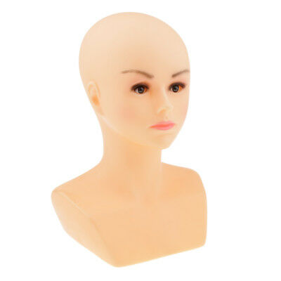 PVC Stable Female Mannequin Head Bald Wig Jewelry Hat Scarves Display Stand