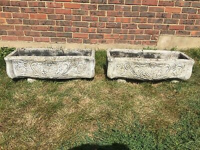 Pair Stone Large Ornate Troughs with Feet. (B)