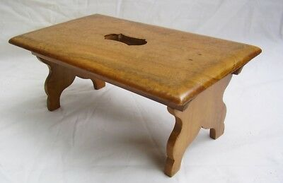 antique victorian treen fruitwood folding miniature travelling stool