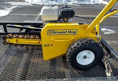 "GROUND HOG T-4 WALK BEHIND GAS TRENCHER  18"" deep , 3"" wide"
