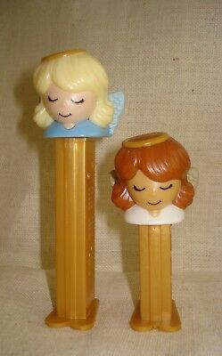 Lot 2 PEZ Christmas Angels Tall Blond and Short Brunette