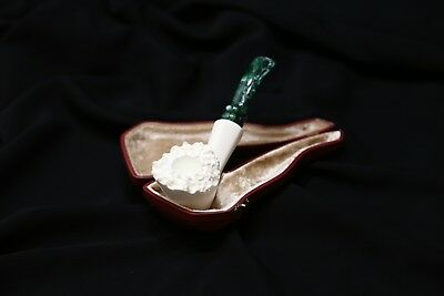 Meerschaum Pipe - Green Stem - Smooth Bent - Hand Carved in a Fitted Case