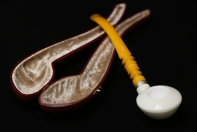 Meerschaum Pipe-Churchwarden/Gandalf- Smooth Bent - Hand Carved in a Fitted Case