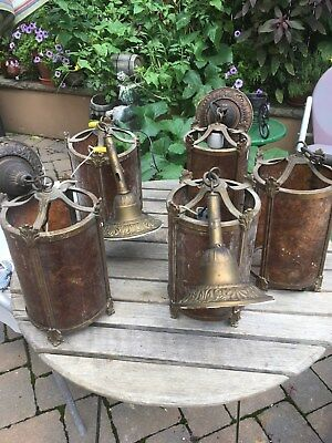Lot Of 5 Antique 1929 Hanging Brass And 4 Panel Glass? Lighting Fixtures