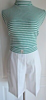 vintage 50s/60s striped NOS Dead Stock sweater and white bermuda short set green