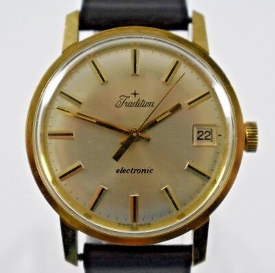 Vintage Swiss Made Tradition Electronic Mens Wrist Watch w/Date lot.g