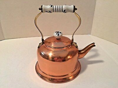 Vintage Copper Tea Kettle w/ Blue&White Ceramic/Enameled Bendable Brass Handle