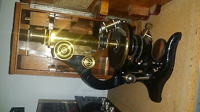 Antique Leitz Wetzlar Brass Microscope W/ Case Accessories Serial #145773
