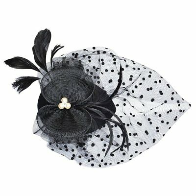 Fascinator on Hairclip for Women bowknot Mesh Feather,black Q9X2