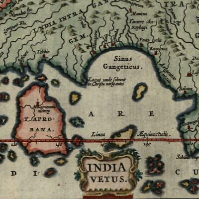 India vetus outside Ganges Taprobana island 1683 Bertius fine old hand color map