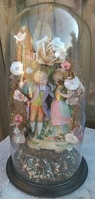 Antique Glass Display Dome courting couple possibly french wedding Victorian
