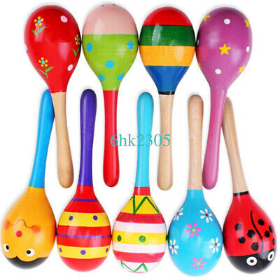 10PCS Cute Wooden Maraca Rattles Musical Instrument Baby Children Shaker Toys
