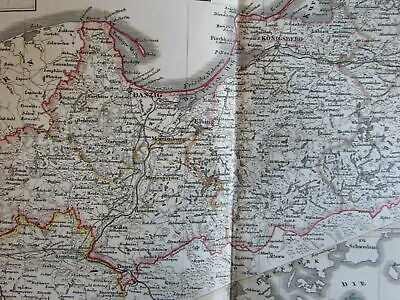 Prussia Posen Danzig Poland Germany Berlin 1860 Stieler scarce detailed old map