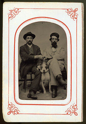 Men Hold Hands Friendship One Legged Amputee & Dog Excellent Condition Tintype