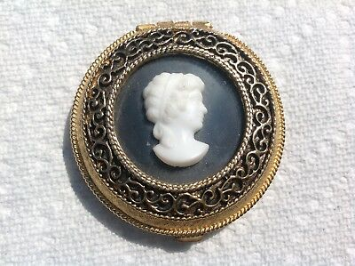Vintage Max Factor White Cameo Powder Compact W/ Black Background On Gold Tone