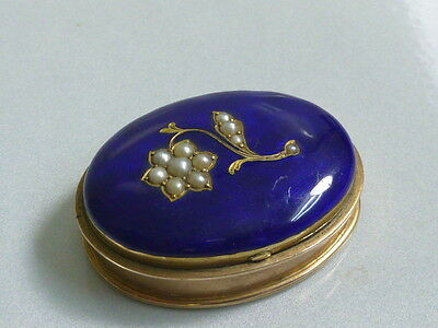 Mid-19th Century Antique 9KT Blue Enameled Spice Box / Snuff Box with Seed Pearl