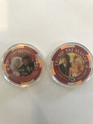 Set Of 2 Donald Trump Atlantic City Poker Chips From The Taj Mahal