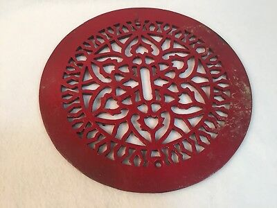 Vintage Ornate Cast Iron Round Floor Grate Heater Register Vent 10 1/2""