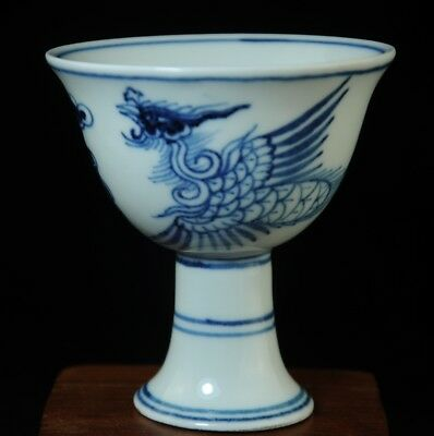 Old China Blue white porcelain Hand painted phoenix cup /chenghua mark