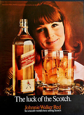 Vtg 1969 Johnnie Walker red hair woman retro Scotch advertisement print ad art