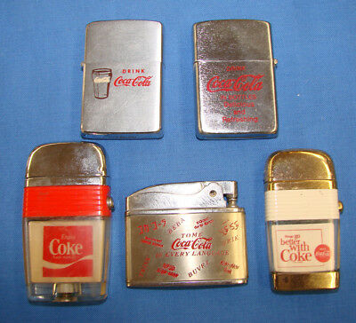 *nice Assorted Lot Of Vintage Coca Cola Cigarette Lighters One Is Zippo*