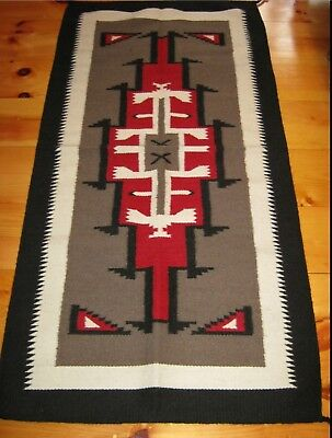 Navajo Design, Southwestern Wool Rug or Wall Hanging 32 x 64  Black Red Gray