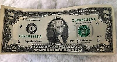 Rare 2003 A Series, Two Dollar Bill Ink Mess Up On The Back Side