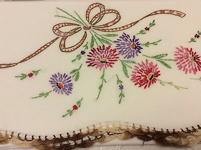 Vintage Embroidered Pillowcases Splashed With Flowers And Ribbons - Beautiful!