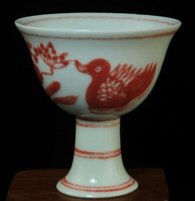 china old underglaze red porcelain hand drawing mandarin duck Cup