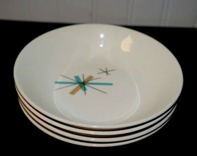 "4 SALEM NORTH STAR 6 1/4"" Coupe Cereal Bowls Turquoise/Tan Starbursts    (G5)"