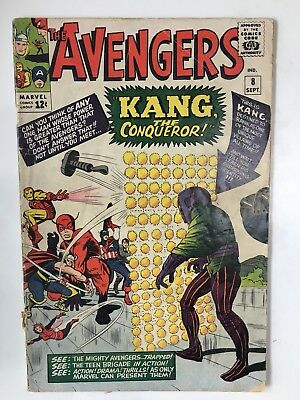 Avengers #8 (1964 Marvel) 1st appearance Kang Conqueror Silver Age