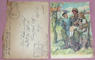 WWII Christmas GI Postcard Signed & Dated1944, from Belgium W/ Original envelope