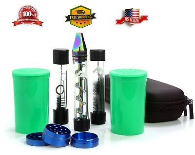 NEW Twist Glass Blunt W/2 Containers, Grinder, Replacement Tube - Rainbow