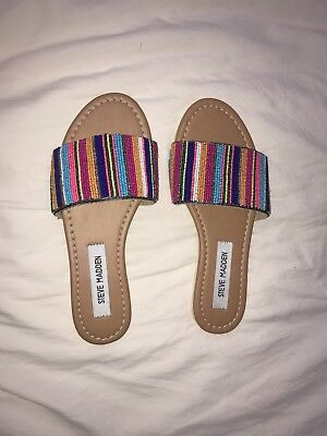 Steve Madden Ansley Sandal Bright Multicolored Beaded Stripes Size 6