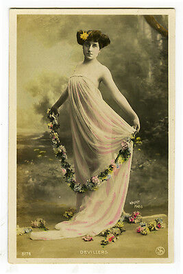 c 1907 French Theater Beauty Melle DEVILLERS music hall tinted photo postcard