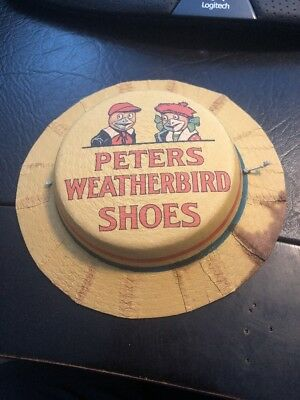 Early Peters Weatherbird Shoes Advertising Paper Child Doll Hat C1910