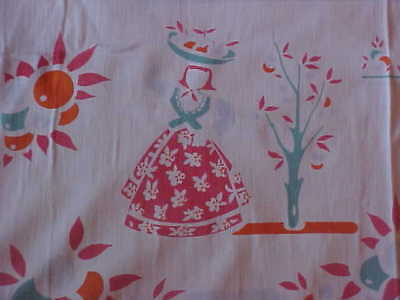 Vintage Tablecloth with Woman Working Outside