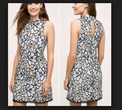 1a57dcaf12 Anthropologie Plenty by Tracy Reese Lace Dress Blue Black Sz 0P Petite NWT!