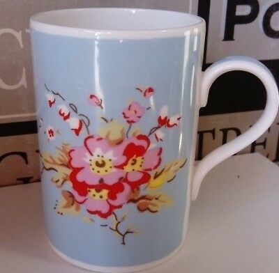 "Cath Kidston, PALE BLUE FLORAL Bone China Mug By Queens 4 "" HIGH PERFECT"
