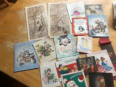 17 Vintage Greeting Cards , Santa Claus , Christmas