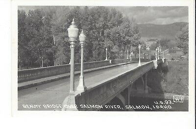 Postcard Rppc U. S. 93 Beauty Bridge Over Salmon River Salmon Idaho Id