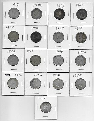 1906-1967 Canadian Quarters Lot Of 17 Silver Coins Circulated