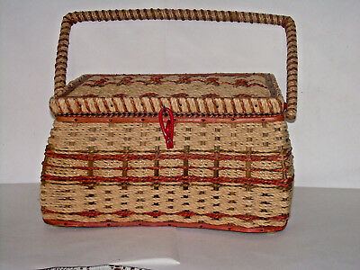 Vintage Woven Dritz Sewing Basket with Handle - Organizer Tray - Satin Lining