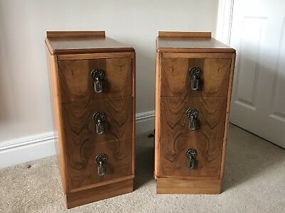Vintage Antique pair of Art Deco bedside cabinets drawers, Walnut, 1930s 40s