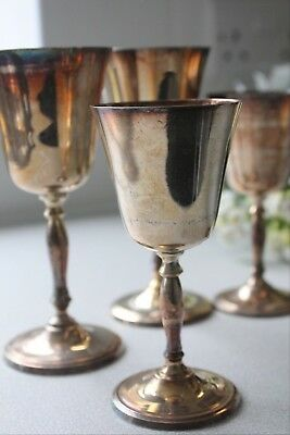 Vintage Silver Plated Wine Goblets Chalice Cups Glasses -Set of 8