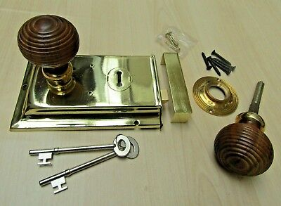 Traditional Classic Retro Vintage Old English Rim Door Lock Knob Handles Set