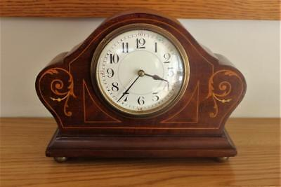 A Small Antique Mahogany Marquetry Inlaid Mantel Clock