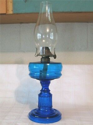 "c1885 Antique HEMINGRAY ""STANBURY"" w/PRISM STEM COBALT BLUE GLASS OIL LAMP"