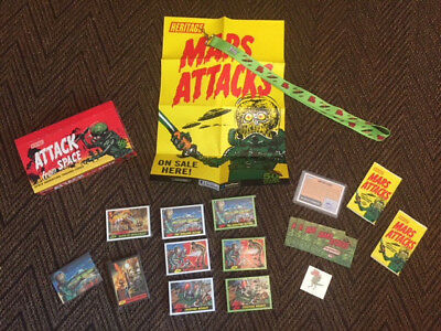 Mars Attacks Heritage 2012 card set - SUPER COMPLETE with Promo Extras! Green+